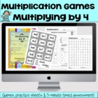 Multiplying by 4 Games and Lesson Plan