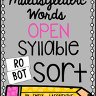 Multisyllabic Words Open Syllable Sort - PHONICS freebie!
