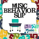 Music Behavior Slip