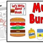 Music Burger-Write a Paragraph About Music Worksheet & Bul