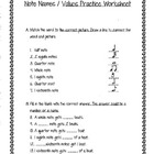 Music Note Names / Values Practice Sheet