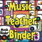 Music Teacher Binder Covers and Labels -Rainbow Records Design