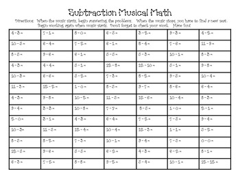 Musical Subtraction Math
