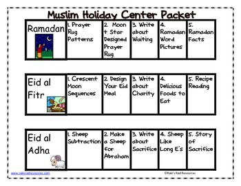 Muslim Holidays Center Packet