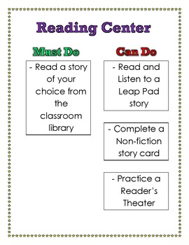 Must Do, Can Do Reading Center Poster