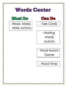 Must Do, Can Do Word Center Poster