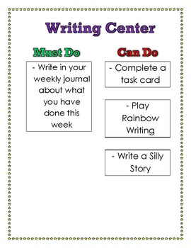 Must Do, Can Do Writing Center Poster