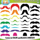Mustache Silhouettes Clipart — Over 15 Graphics!