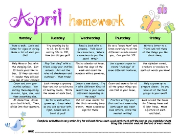 My April Homework Calendar