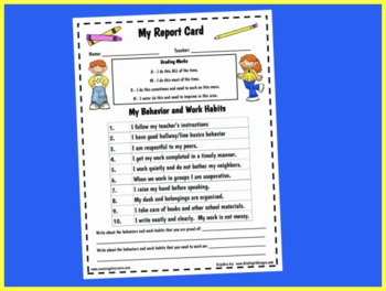 My Behavior and Work Habits Self Reflecting Report Card