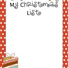 My Christmas List Activity Paper