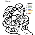 My Color by Letter/Number Easter Basket Color Sheets - Spr