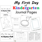 My First Day of Kindergarten Journal Pages