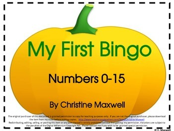 My First Number Bingo Game