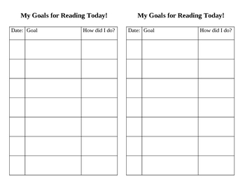My Goals for Reading Today