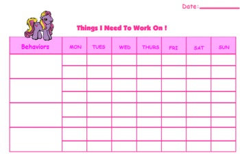 My Little Pony Behavior Chart