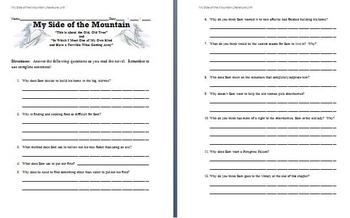 My Side of the Mountain - Study Questions (Chapters 5 and 6)