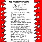 My Teacher's Going Crazy Poem Freebie - Teacher Appreciation