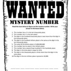 Mystery Number Place Value Worksheet- Easy and Advanced