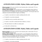 Myth, Fable, Legend Anticipation Guide