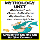 Myths Mythology Genre Unit/ Writing Project Menu, Book Rep