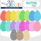 NEW Glitter Easter Eggs Clip Art Set!!