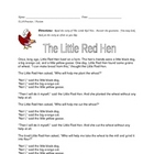 NYS ELA Practice -- Fiction Reading -- The Little Red Hen