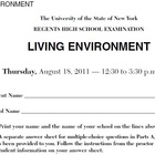 NYS Living Environment Regents August 2011 ExamView Test Bank