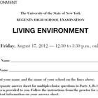 NYS Living Environment Regents August 2012  ExamView Quest