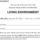 NYS Living Environment Regents January 2012  ExamView Test Bank