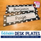 Name Plates - Polka Dot Pleasures Theme