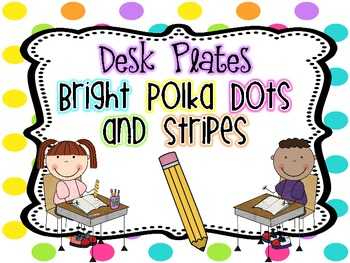 Name/Desk Plates {Bright Polka Dots and Stripes}