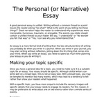 Narrative or Personal Essay Guidelines