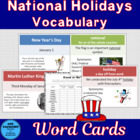 National Holidays Word Cards with Word of the Day Cards Se