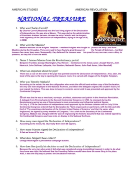 """National Treasure"" Movie Study Guide & Answer Key"