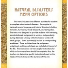 Natural Disasters Menu Options