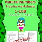 Common Core: Natural numbers practice worksheets 1-100 {12