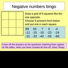Negative numbers bingo