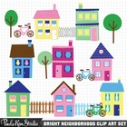 Neighborhood Clip Art - House and Town Images
