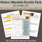 Nelson Mandela Bundle Pack for Grades 3-6 (MS Word & Inter