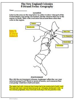 New England Colonies Activities, Worksheets, Common Core S