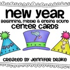 New Years Beginning, Middle &amp; Ending Sounds Center Cards! 