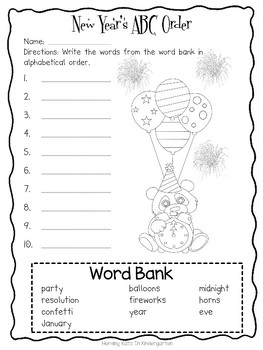 New Years Eve ABC Order Freebie