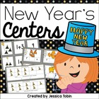 New Year&#039;s Math and Literacy Stations