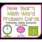 New Year&#039;s Themed Math Word Problem Cards (CCSS Aligned!)