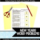New Years Word Problems Solve and Snip- 6th and 7th- Common Core