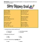 New York State ELA Practice -- Poetry -- Slimy Slippery Snails