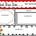 Newsletter for any Month - Editable Text Boxes {school bus image}
