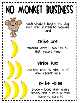 No Monkey Business Behavior Cards