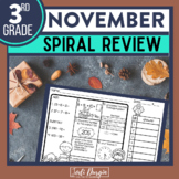 No Prep NOVEMBER MATH Spiral Review for 3RD GRADE
